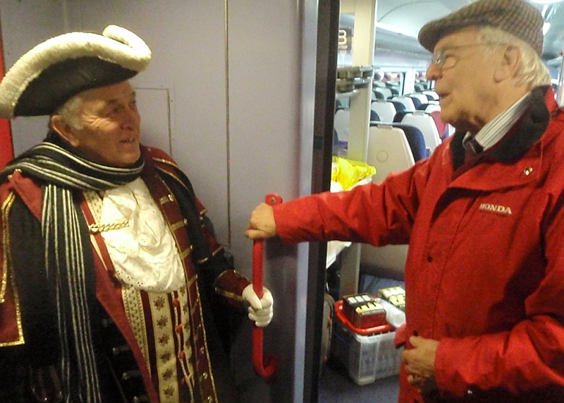 Peter Blackburn of MRDG with Peter Dauncey, Melksham town crier, who came with us
