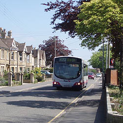 Bus outside Well House Manor