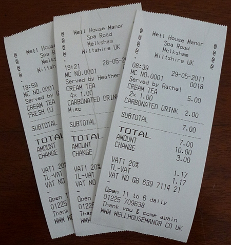 New till receipts
