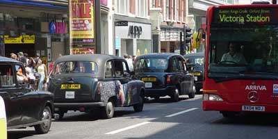 Taxis on Oxford Street