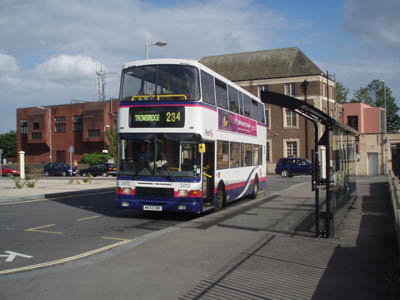 Trowbridge and Melksham bus at Chippenham Station