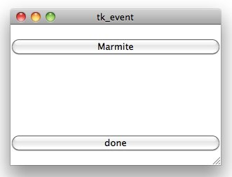 Tk Events - sample output