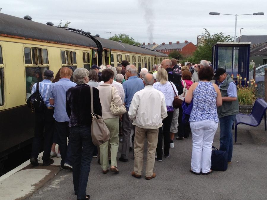 Steam train picks up at Melksham