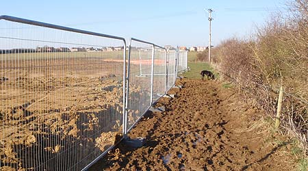 Footpath becomes building site