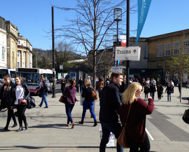 Train to bus interchange at Bath - extra signage just for rail replacement operations