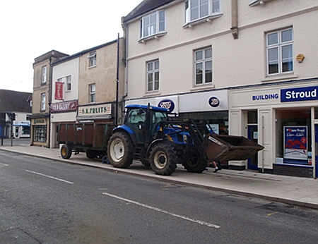 Tractor on the pavement