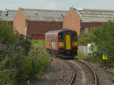 A train pulls in to Melksham Station