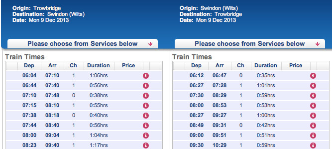 Morning train services between Swindonand Trowbridge