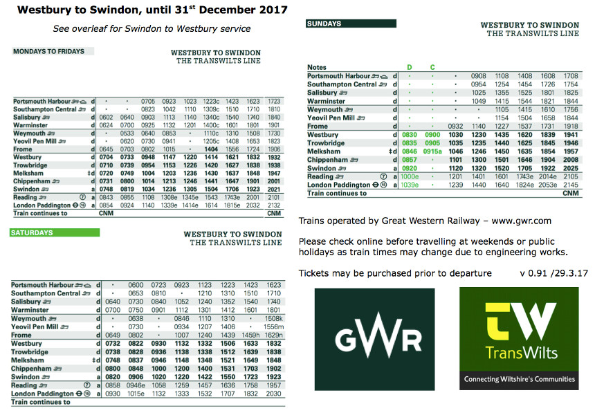 Melksham Train Timetable - Northbound
