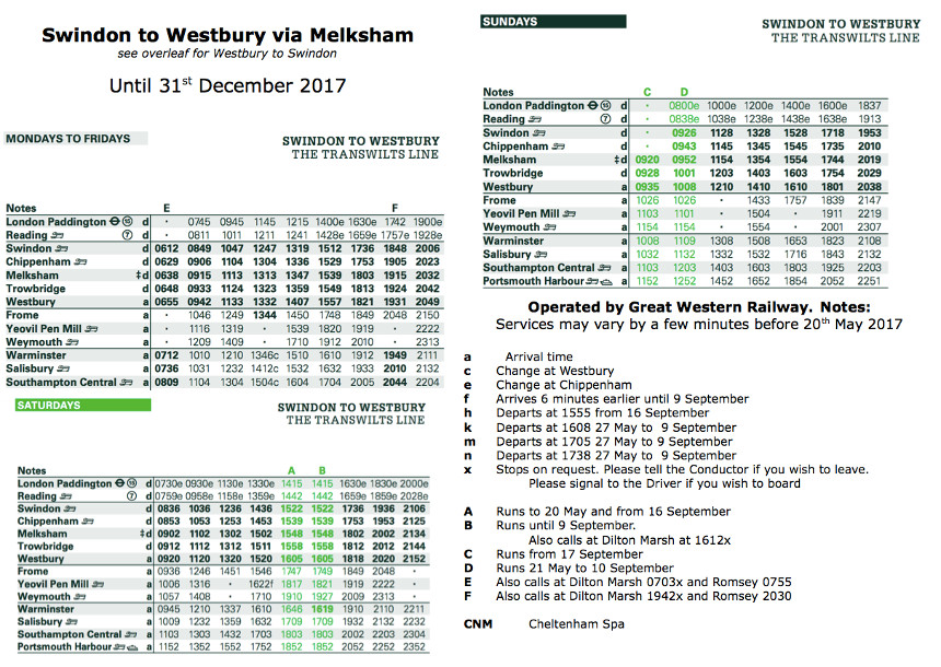 Melksham Train Timetable - Southbound