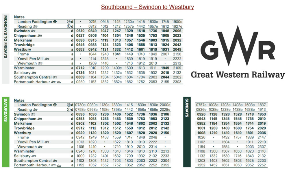 Melksham Train Timetable