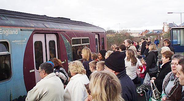 Crowds at Melksham Station