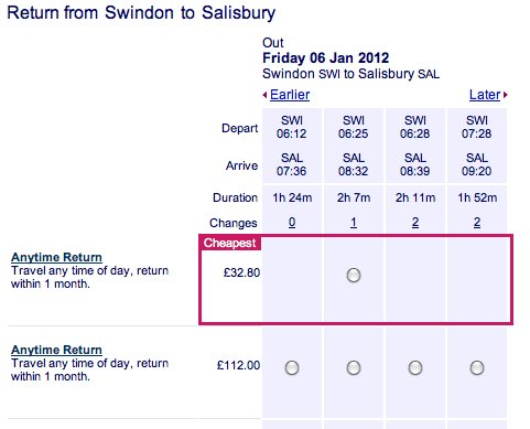 Train Fares, Swindon to Salisbury