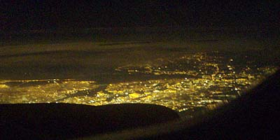 Night view from an aircraft