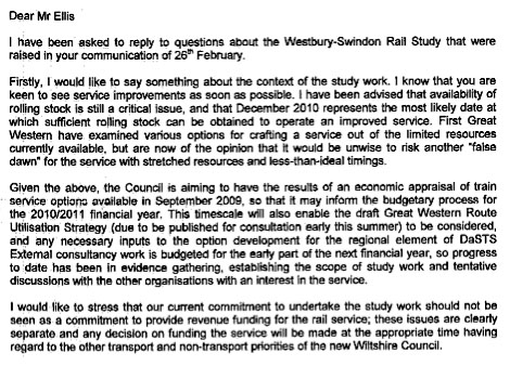 Wiltshire County Council Letter
