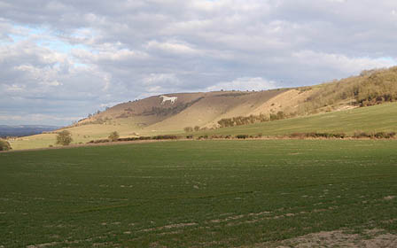 View to White Horse, Westbury from top of Wellhead Valley