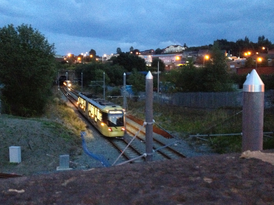 Manchester tram in Oldham. Old route - trams now go over the hill
