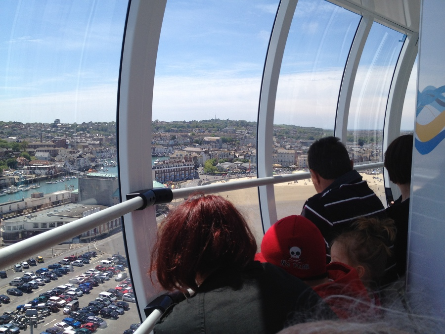 On that thing that goes up to give you a view at Weymouth