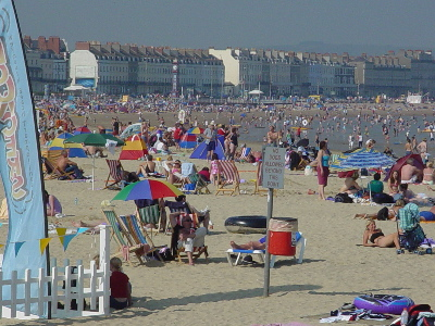 Weymouth Beach on a hot autumn day