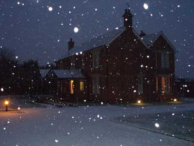 Its snowing at Well House Manor