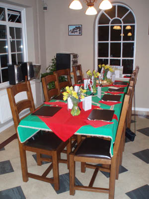 A Welsh theme to the table and meal too