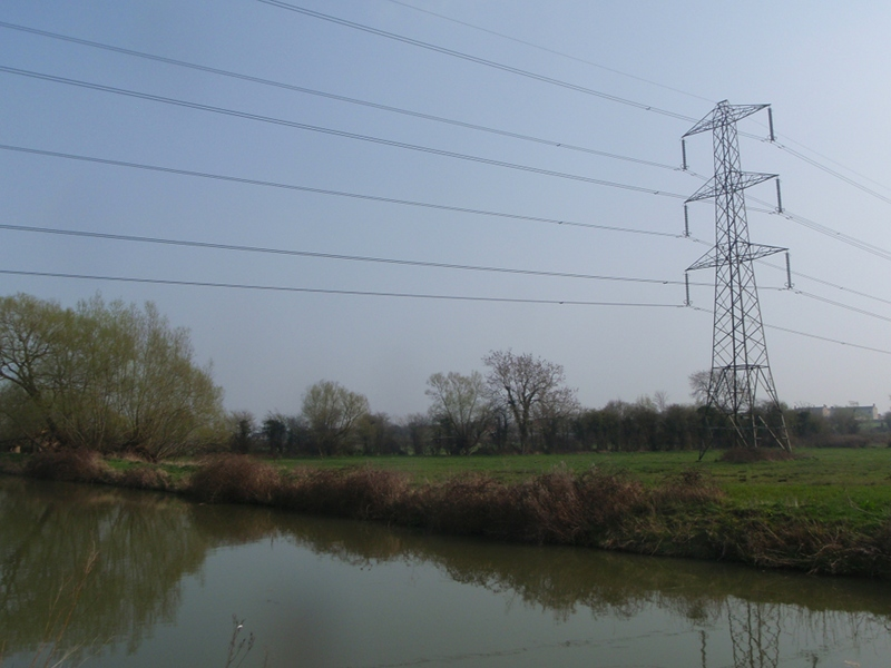 Electric cables cross the canal
