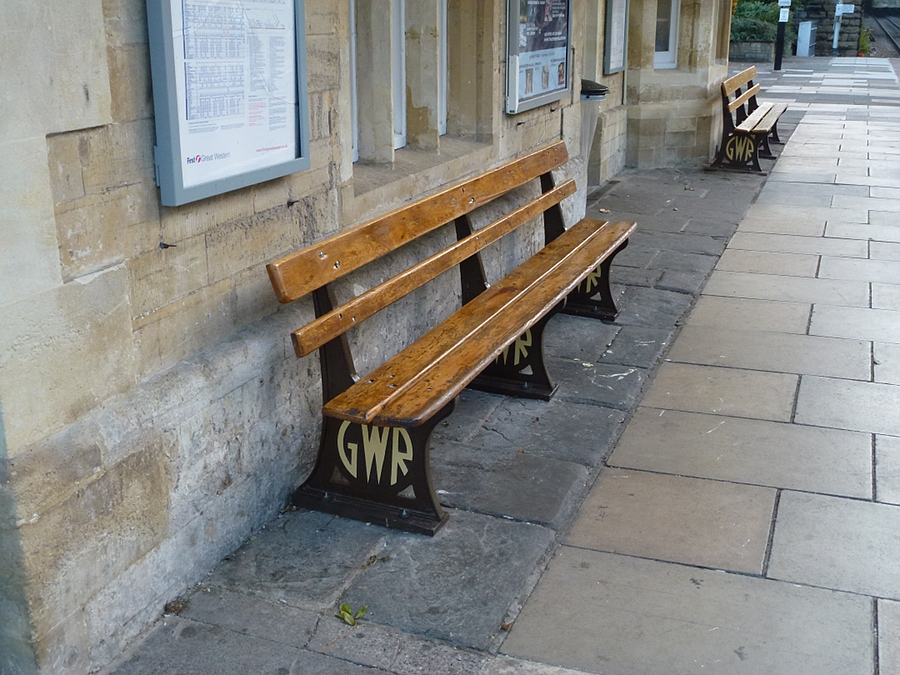 Old seats at Bradford-on-Avon station