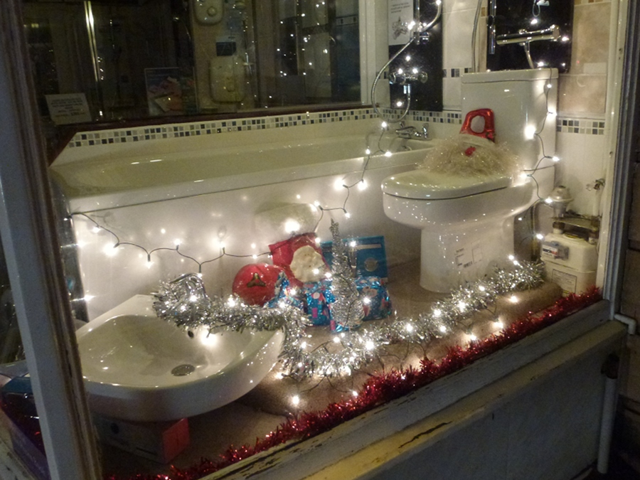 Toilet decorated for Christmas