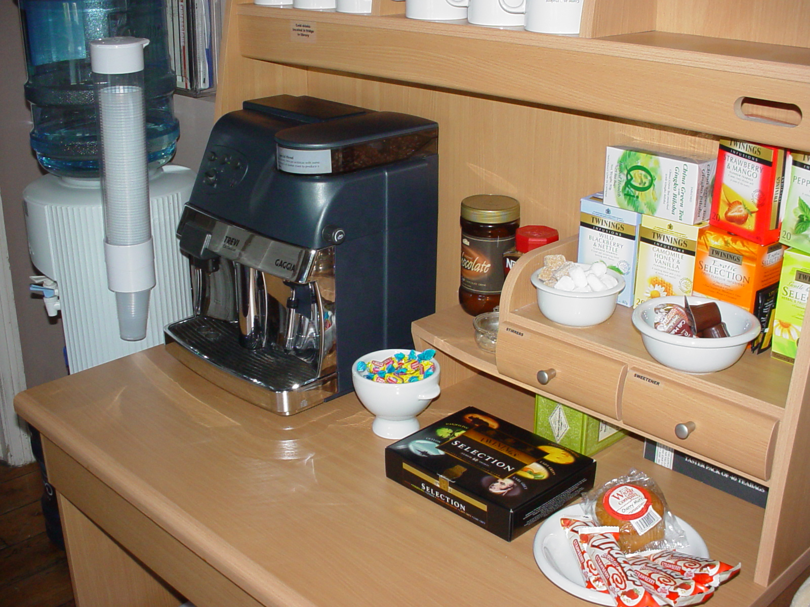 the tea and coffee station